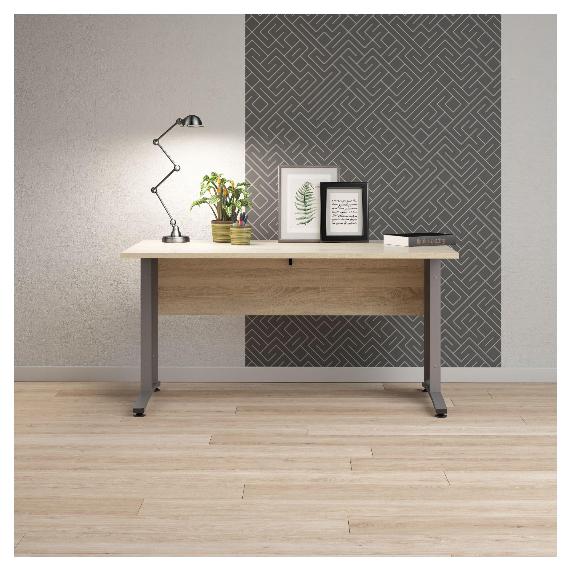 Prima Skrivebord - Lys træ 150cm m/metalben - Skrivebord med egetræslook