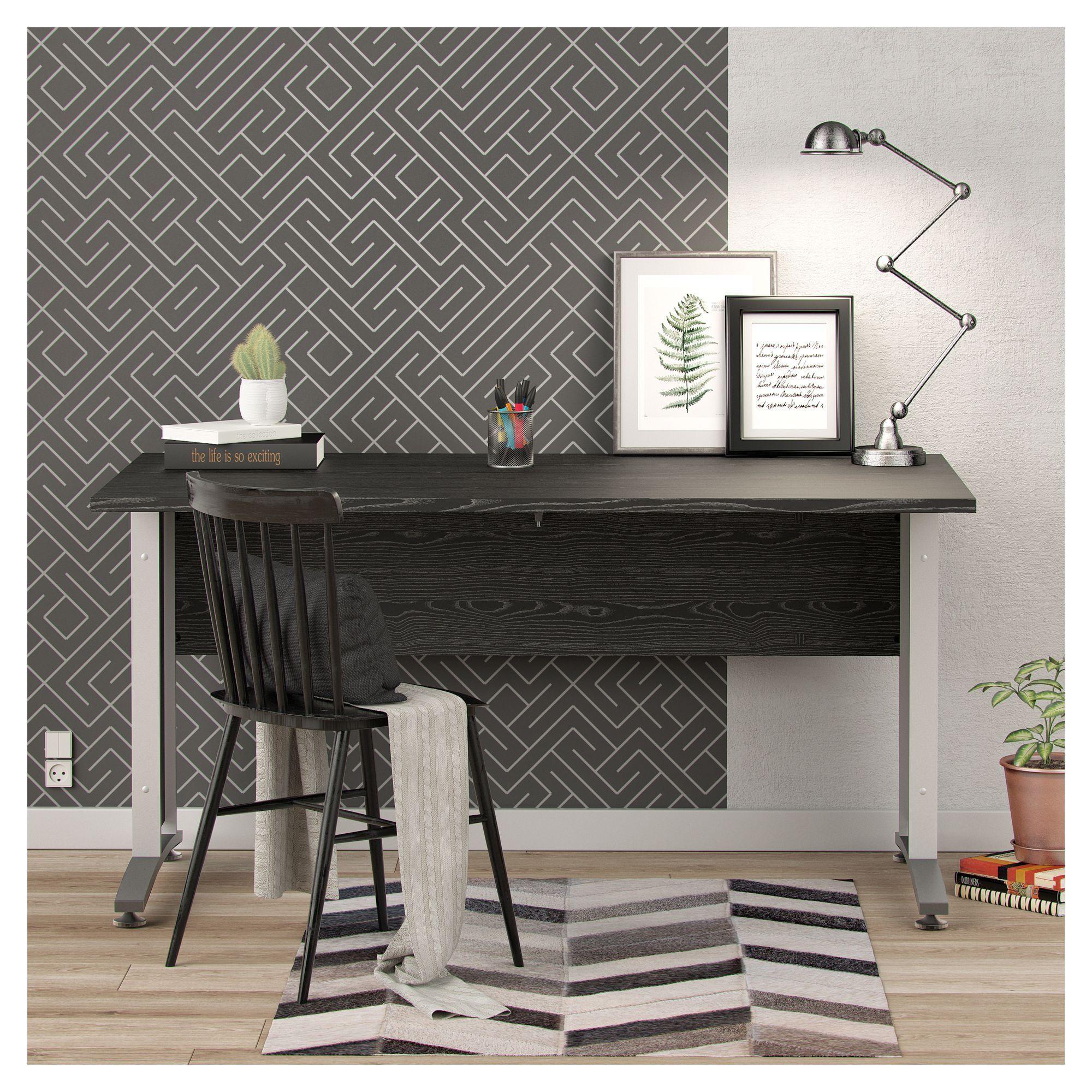 Prima Skrivebord - Sort 120cm - Skrivebord i sort ask m. sølvgrå stål - 120 cm