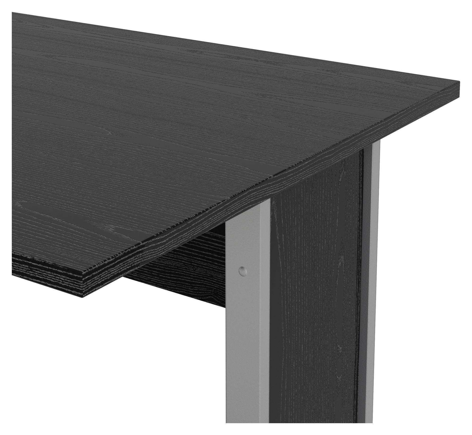 Prima Skrivebord - Sort 150cm - Skrivebord i sort ask m. sølvgrå stål - 150 cm