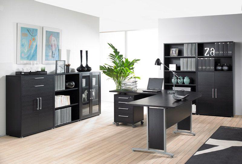 Prima Skrivebord - Skrivebord i sort ask m. sølvgrå stål
