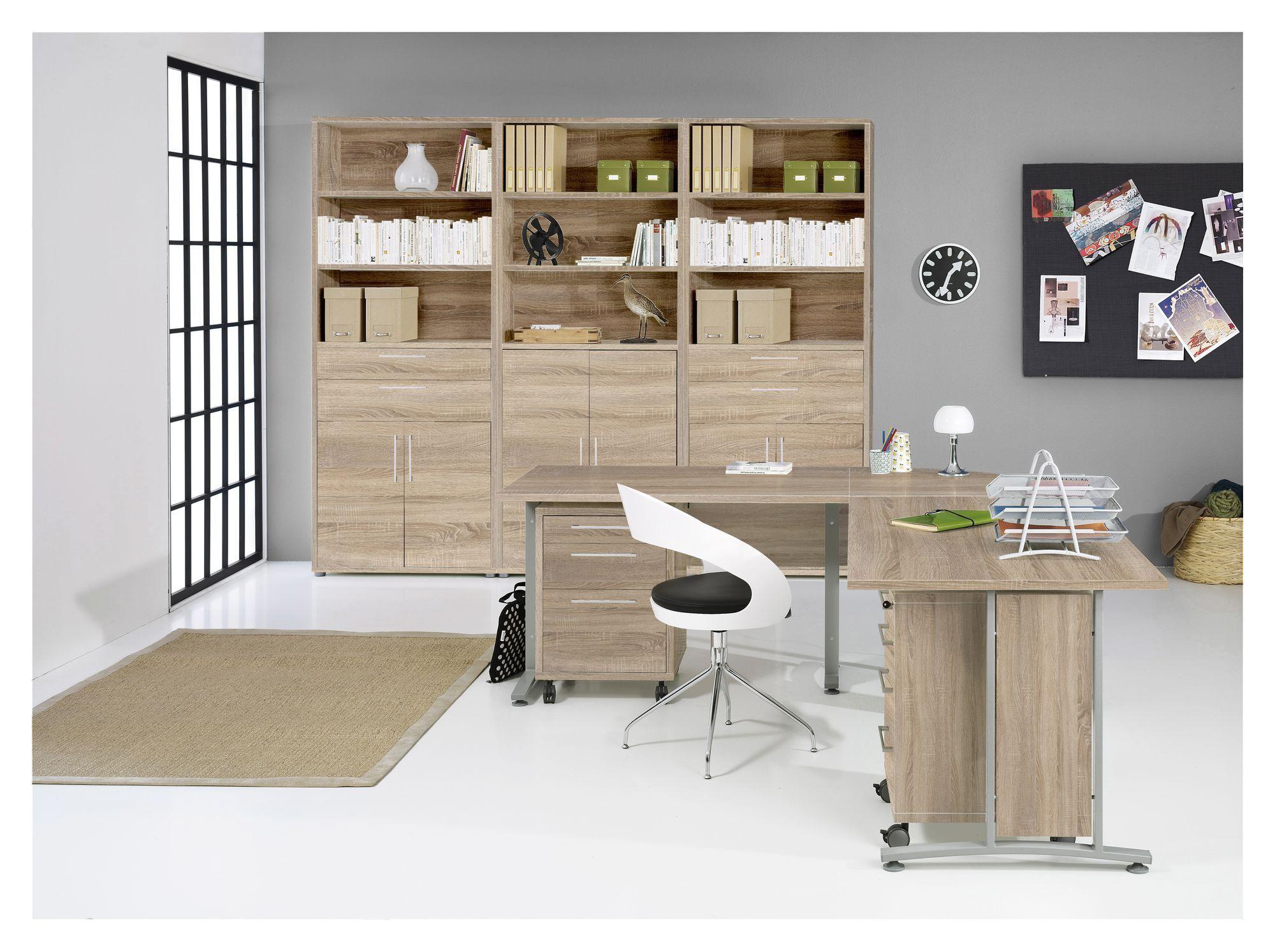 Prima Skrivebordsmodul - Lys træ m/metalben - Hjørnemodul til Prima Skrivebord