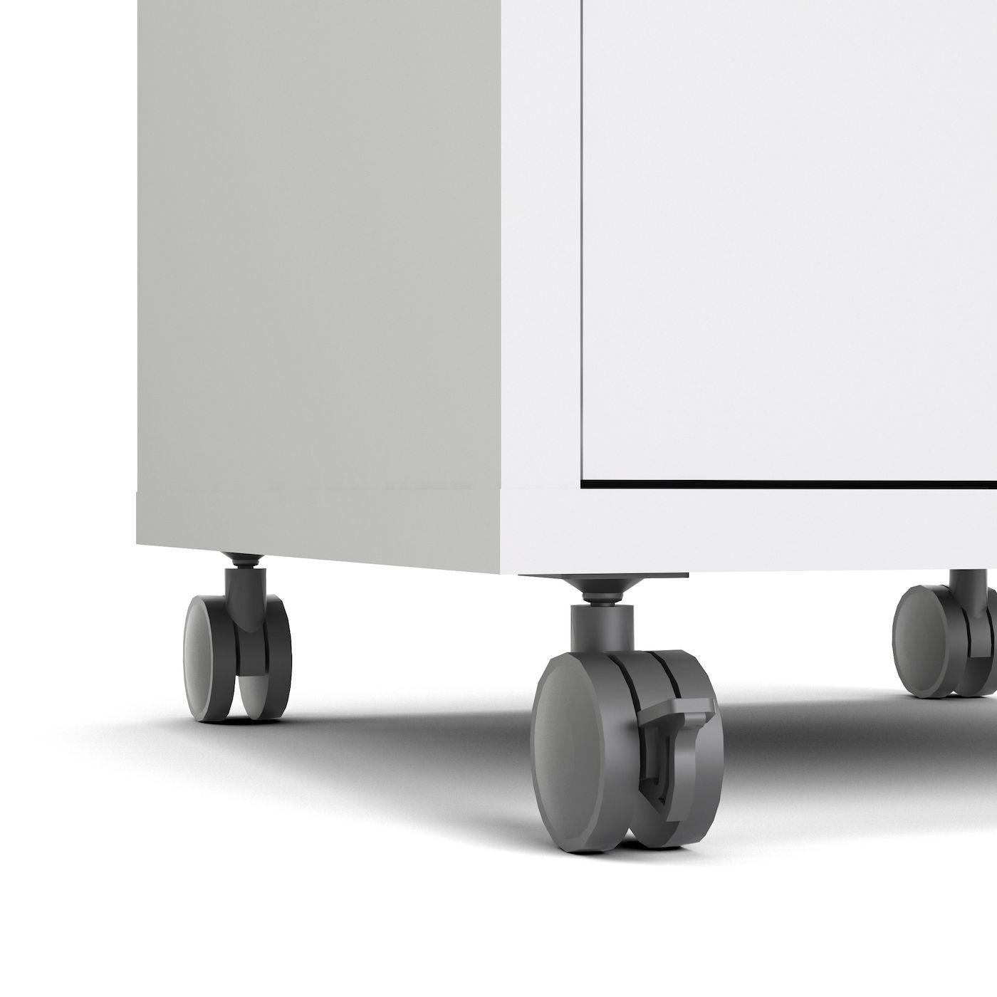 Prima Skuffemodul - Hvid m/3 skuffer - Skuffemodul med hjul i hvid