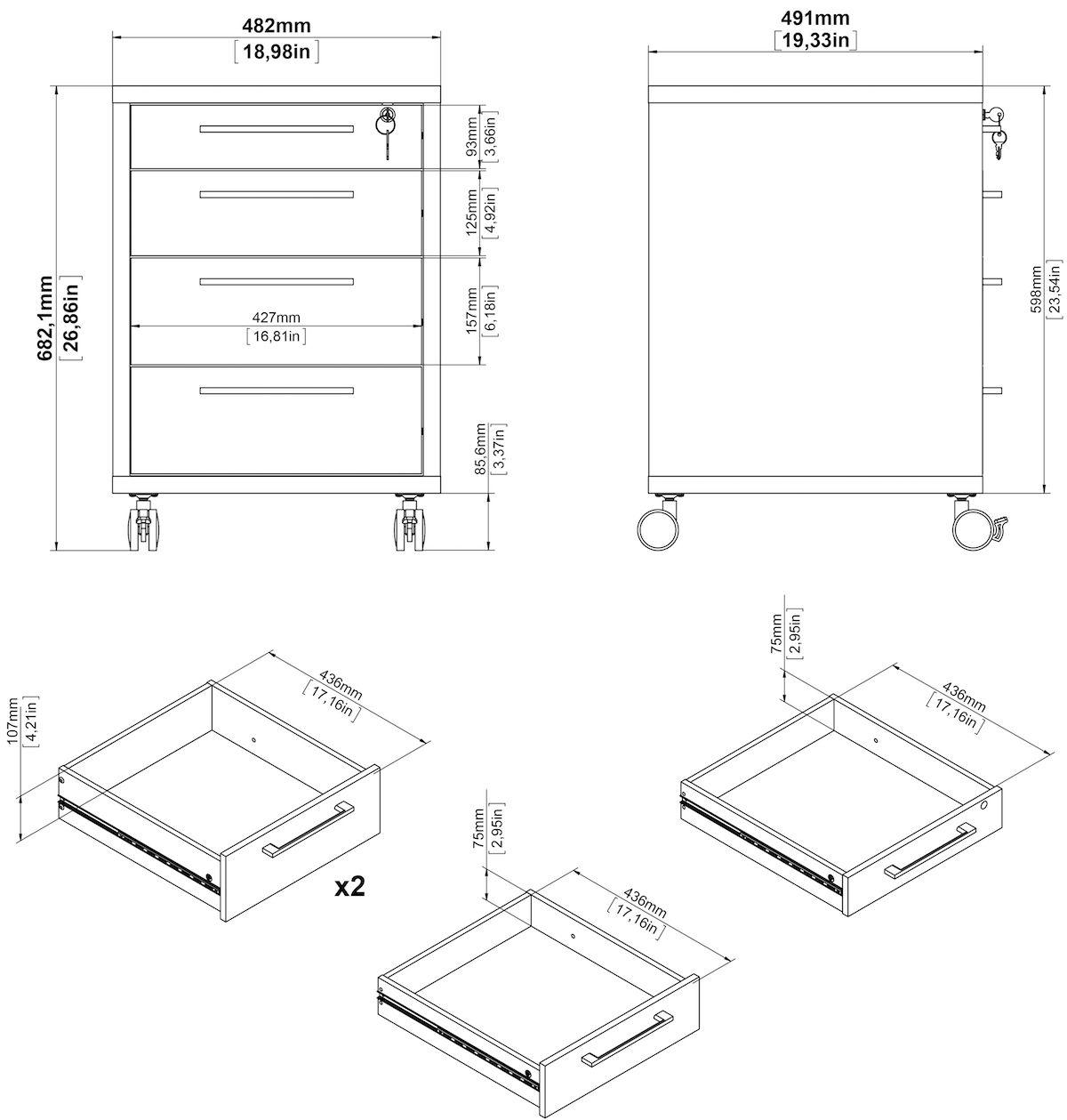 Prima Skuffemodul - Hvid m/4 skuffer - Skuffemodul i hvid