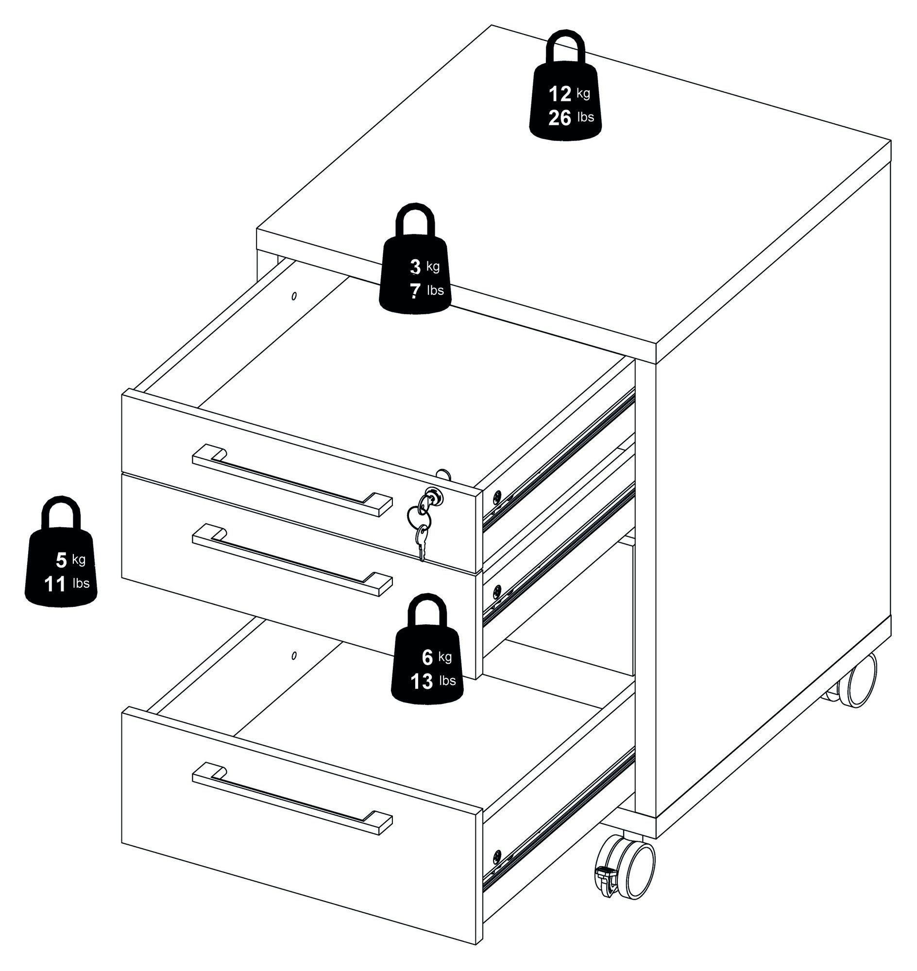 Prima Skuffemodul - Lys træ m/4 skuffer - Skuffemodul med egetræslook