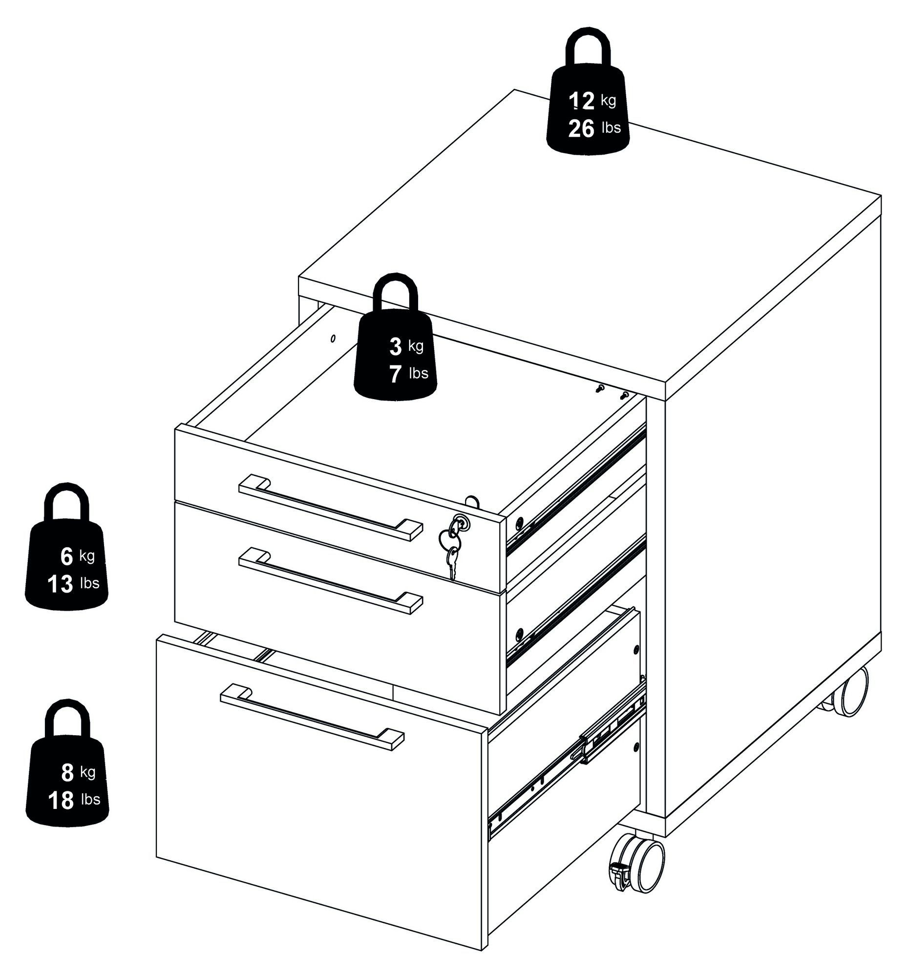 Prima Skuffemodul - Sort m/3 skuffer - Skuffemodul med hjul i sort ask