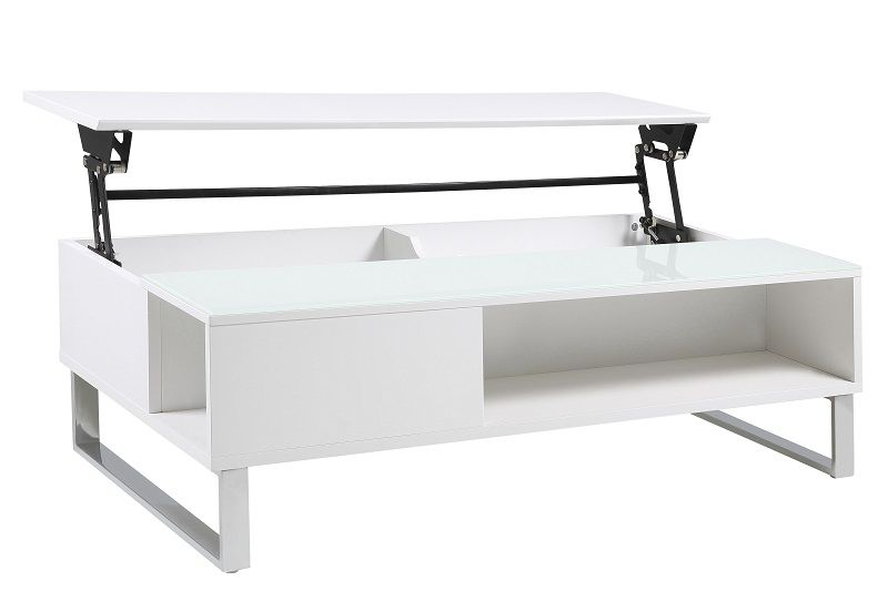 Rody Sofabord m/hejs 110x60 - Hvid højglans - Sofabord i hvid højglans