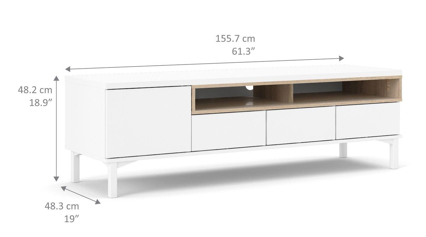 Roomers Tvbord - Hvid - Hvidt TV-bord med hylde- og skuffeplads