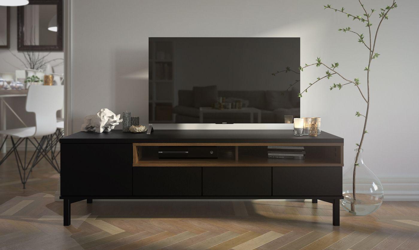 Roomers Tvbord - Sort - Sort TV-bord med hylde- og skuffeplads