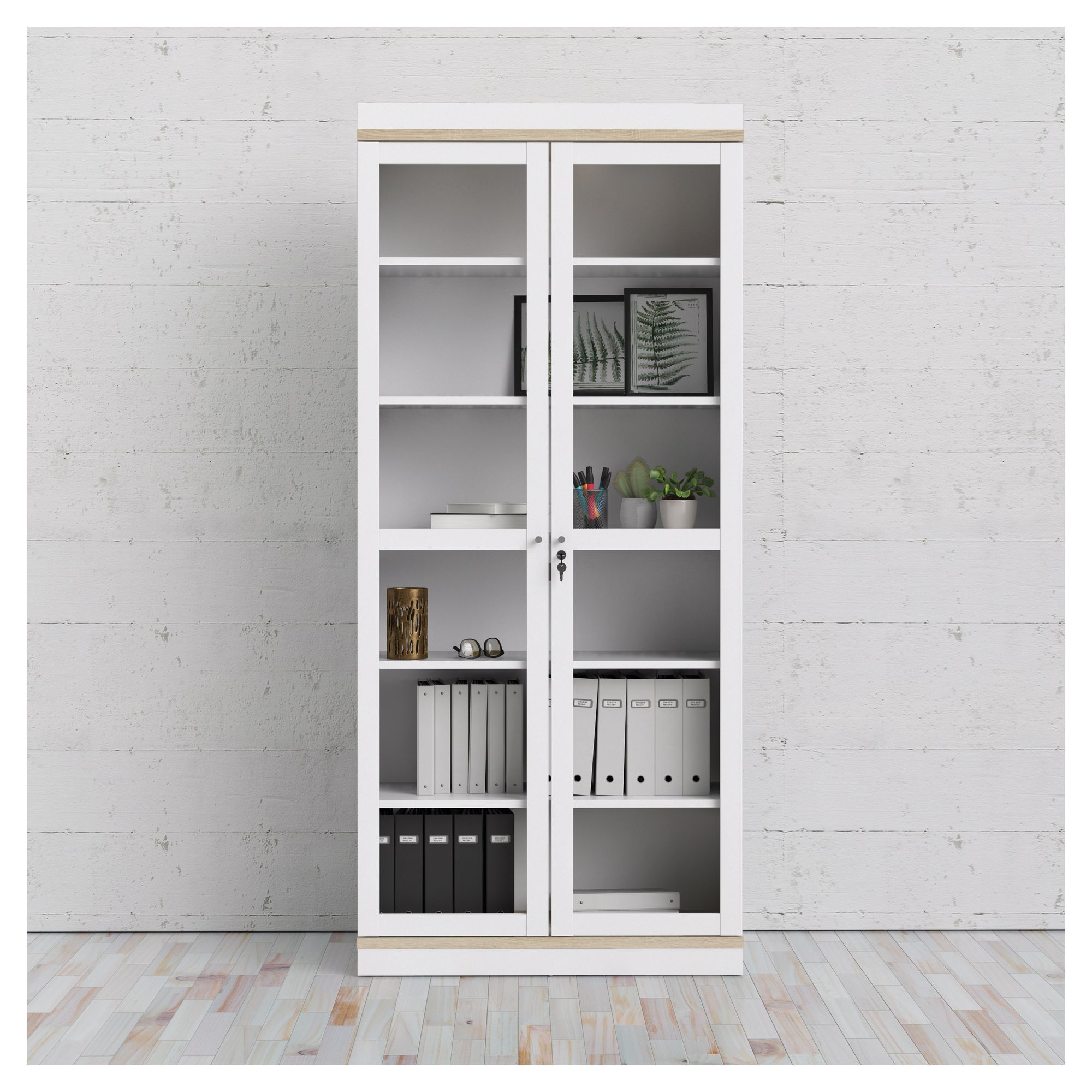 Roomers Vitrineskab - Hvid - Hvidt vitrineskab med glaslåger