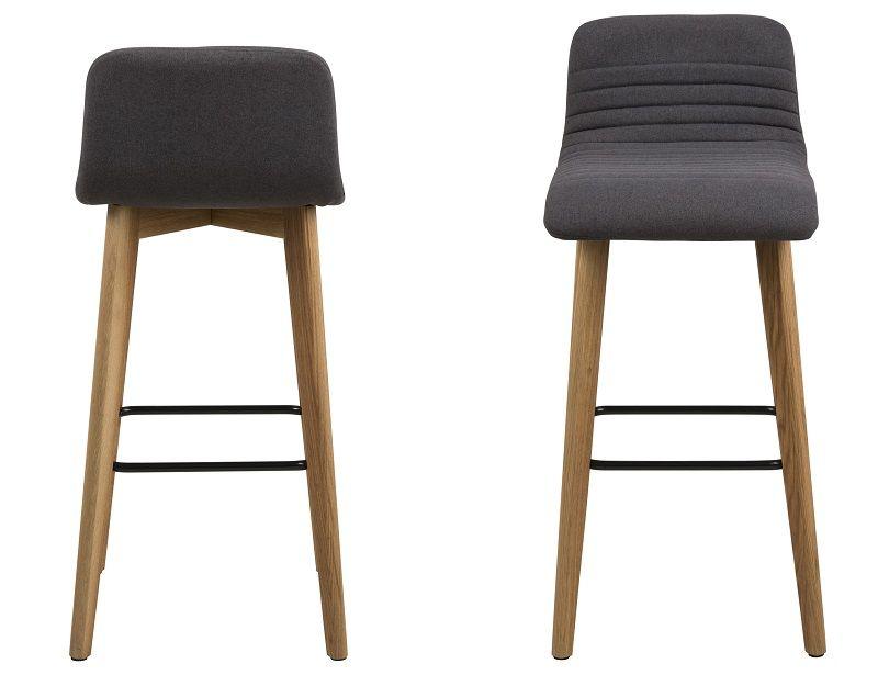 Rosa Barstol med ege ben - Antracitgrå stof - Barstol med egetræs ben