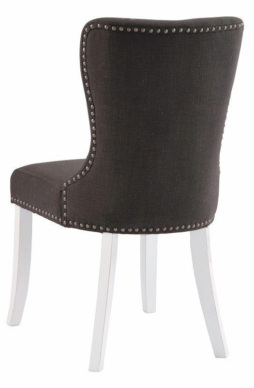 Nelly Spisebordsstol - Grå stof m. Hvide ben - Grå spisebordsstol med hvide ben