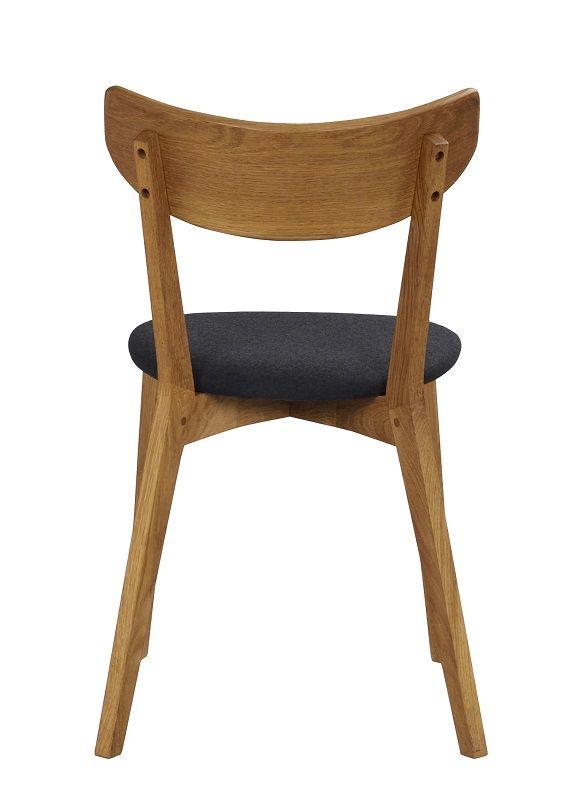 Ami Spisebordsstol - Eg, Gråt stofsæde - Spisebordsstol med mørkegrå filt sæde