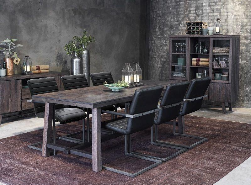 Brooklyn Spisebord - børstet eg - 220x95 - Mørkt spisebord 220 x 95 cm