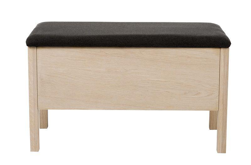 Confetti Bænk - Lys eg/sort sæde - Bænk med mørkegrå hynde