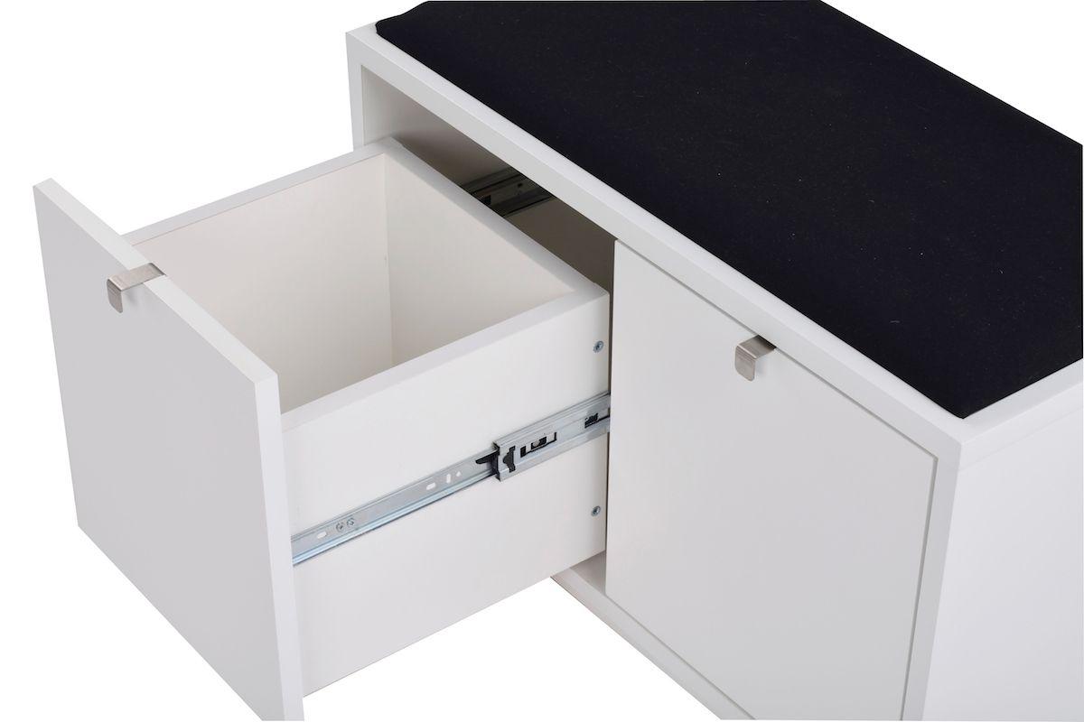 Confetti bænk m/2 skuffer Hvid - Sort hynde - Hvid bænk i egefiner