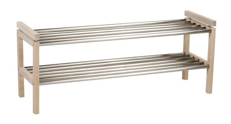 Confetti Skohylde m/2 hylder B:100 - Hvid Eg/alu - Skohylde med metal lameller