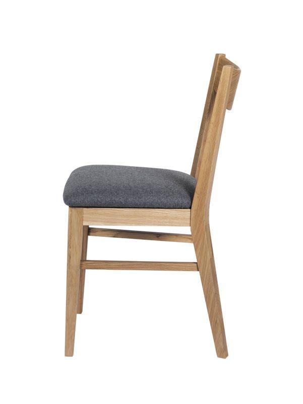 Dylan Spisebordsstol - eg, Gråt sæde - Spisebordsstol m. gråt uldsæde