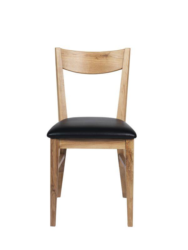 Shane Spisebordsstol - eg m. Sort PU - Spisebordsstol m.sæde i sort læder-look