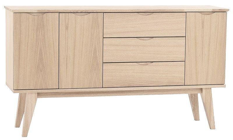 Gabriella Skænk - hvidvasket egefinér B:150 - Skænk med god opbevaringsplads