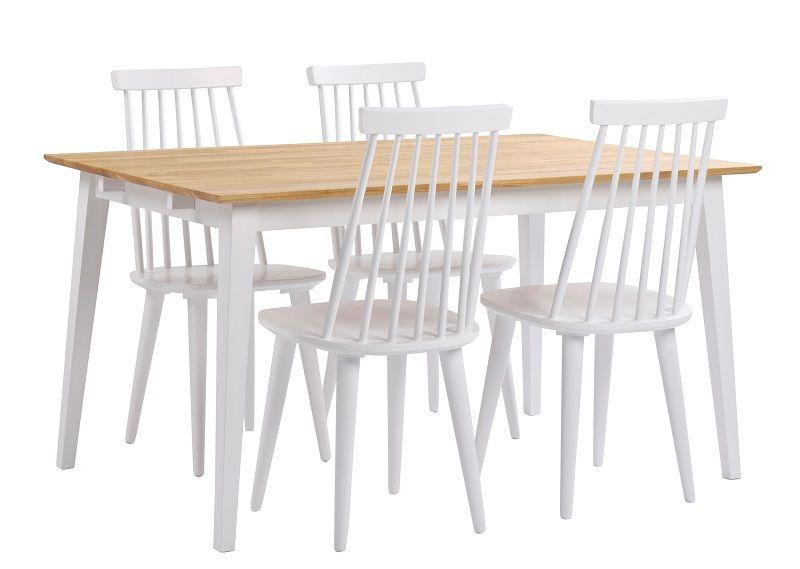 Gabriella Spisebord - Hvid og eg - 140x90 - Spisebord med egetræsplade og hvide ben