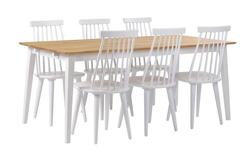 Gabrielle Spisebord - Hvid - Egetræsplade og ben i hvid eg