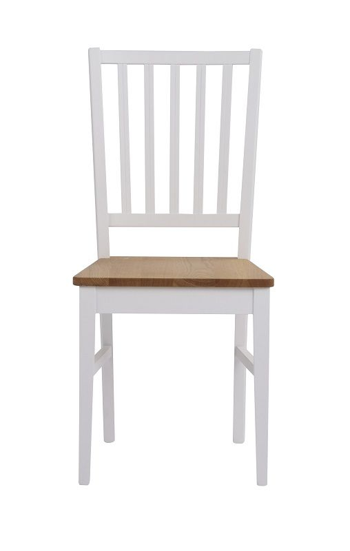 Filippa Spisebordsstol - Hvid, Egetræssæde - Spisebordsstol i hvidlakeret eg