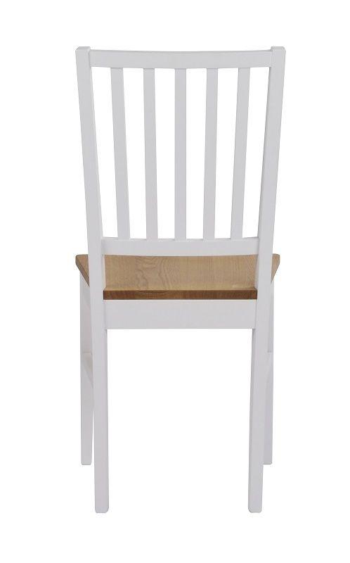 Gabriella Spisebordsstol - Hvid m. Egetræssæde - Spisebordsstol i hvidlakeret eg