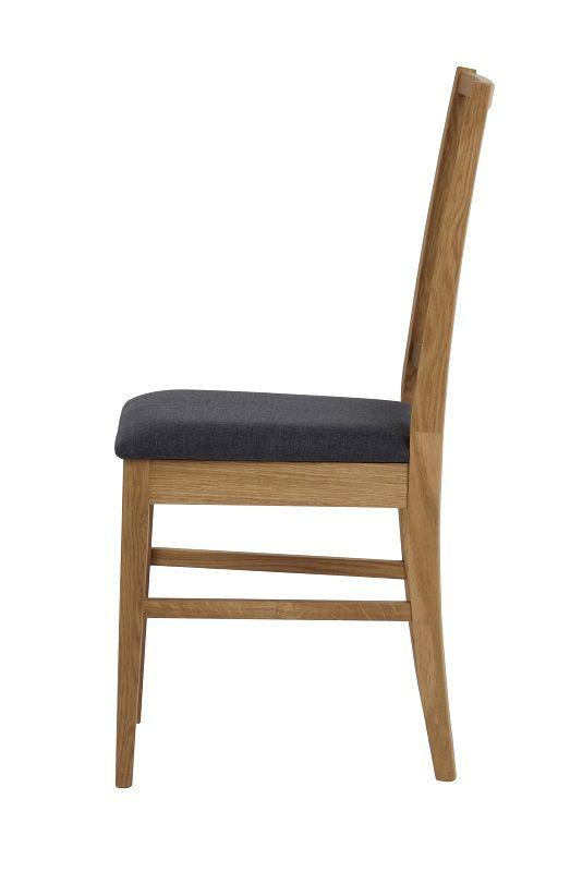 Gabrielle Spisebordsstol - Grå - Spisebordsstol i egetræ med gråt sæde
