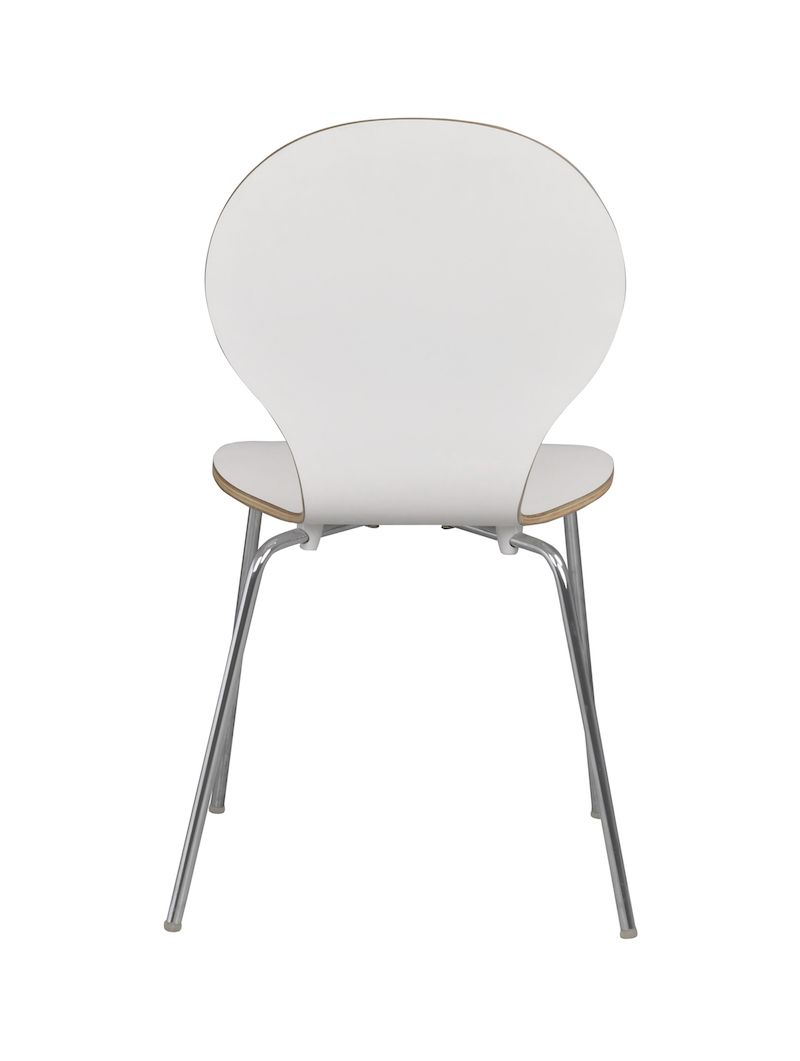 Bubble Spisebordsstol - Hvid lamineret krydsfinér - Formspændt stablestol