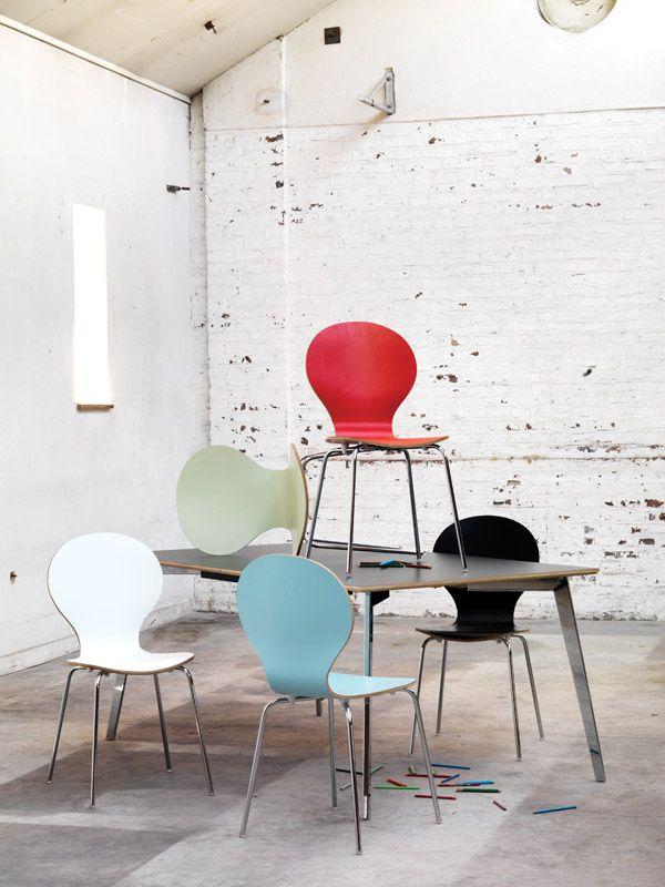 Fusion Spisebordsstol - Sort lamineret krydsfinér - Formspændt stablestol