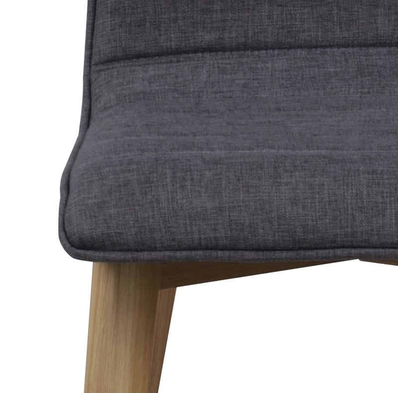 Grace Spisebordsstol - Grå stof m. mat ege ben - Spisebordsstol i egetræ med mørkegråt sæde