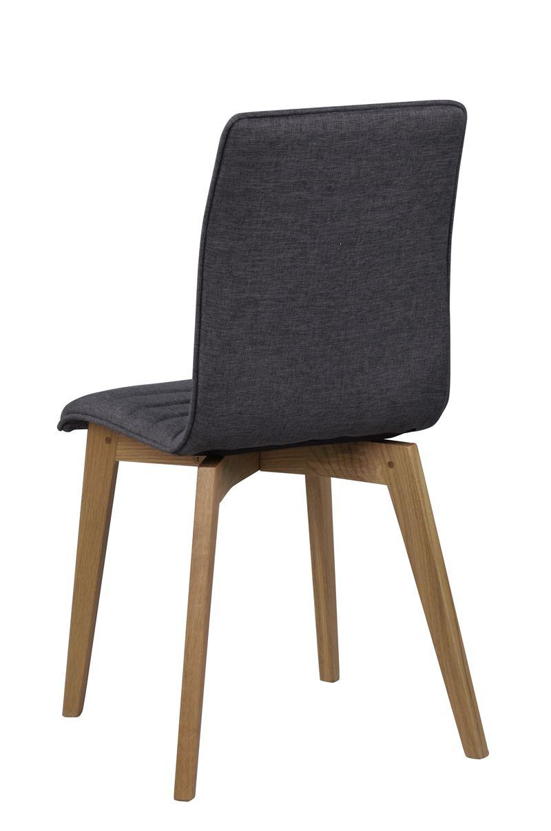 Grace Spisebordsstol, Grå stof, mat ege ben - Spisebordsstol i egetræ med mørkegråt sæde