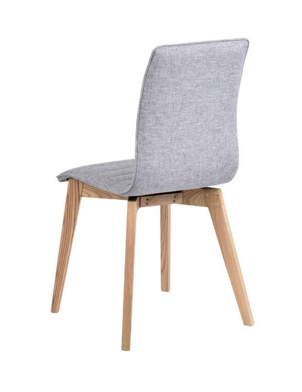 Trend Spisebordsstol - Lysegrå - Spisebordsstol i egetræ med lysegråt stofsæde