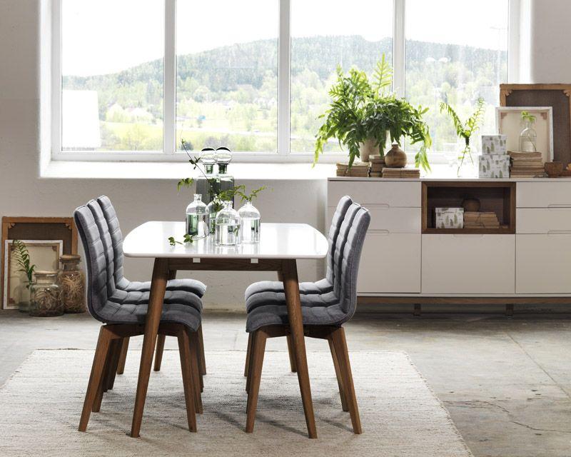 Trend Spisebordsstol - Lysegrå m. mat ege ben - Spisebordsstol i egetræ med lysegråt stofsæde