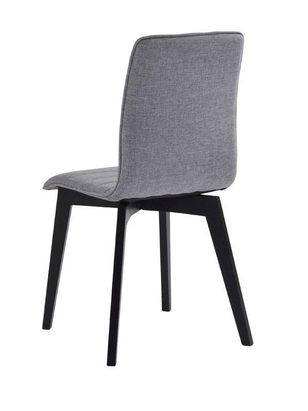 Grace Spisebordsstol, Lysegrå, sorte ege ben - Sort egetræsspisebordsstol med gråt sæde