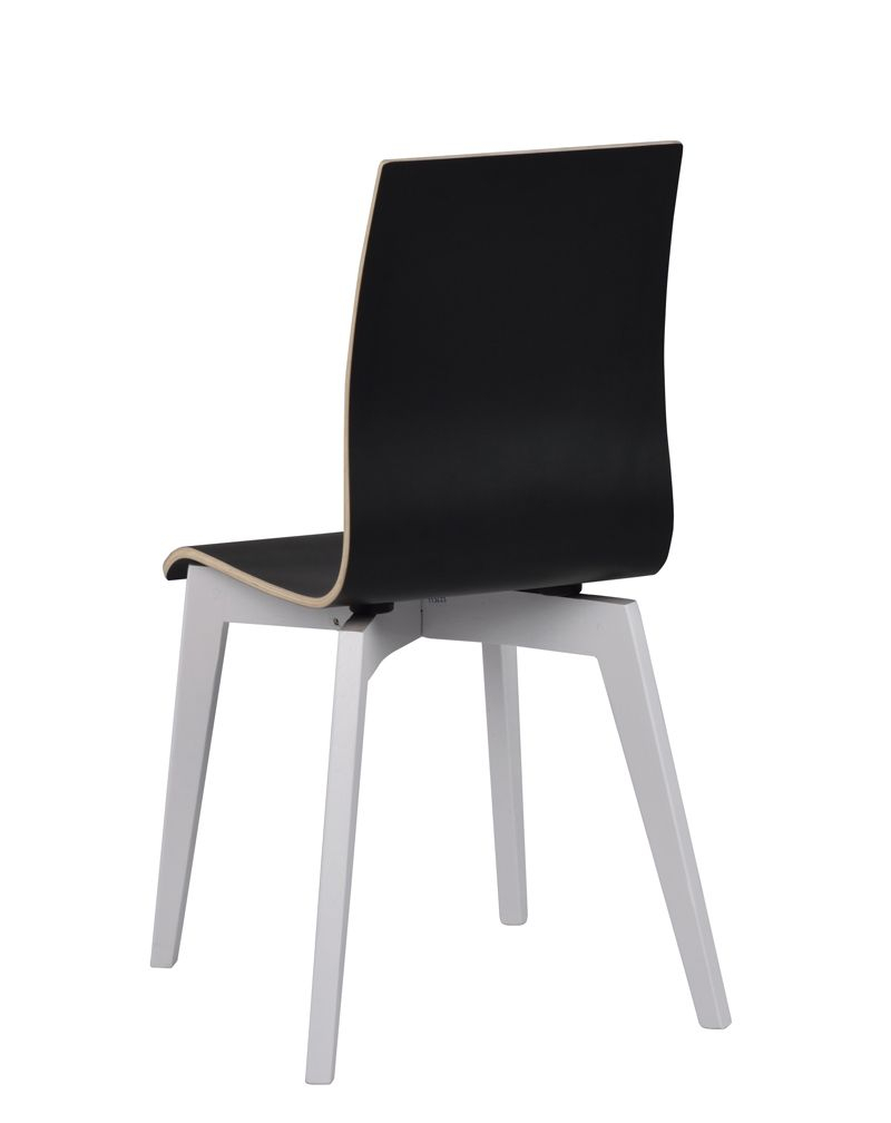 Gracy Spisebordsstol, Sort, Hvide ben - Spisebordsstol med sort sæde
