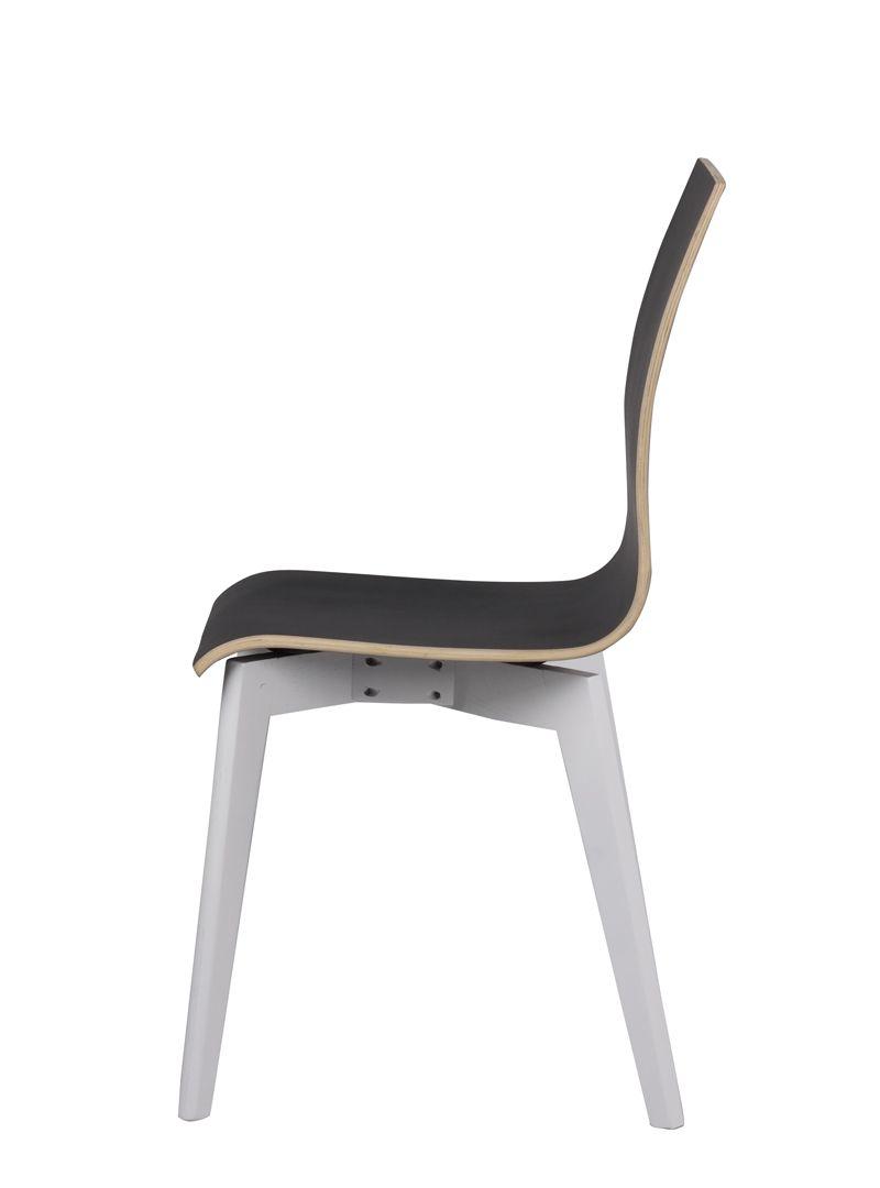Grace Spisebordsstol - Sort m. Hvide ben - Spisebordsstol med sort sæde