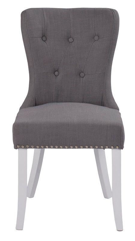Britt Spisebordsstol - Grå - Hvid stol med gråt sæde