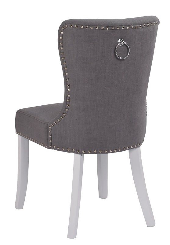 Ina Spisebordsstol, Grå, Hvid - Hvid stol med gråt sæde