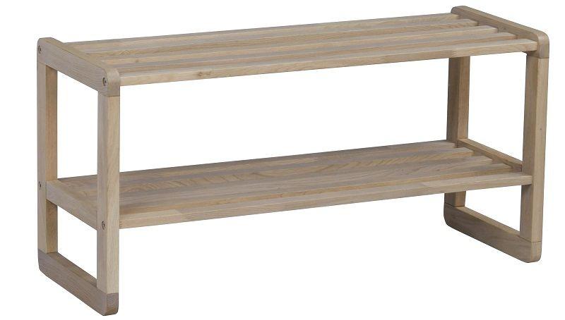 Metro Skohylde - hvidvasket matlakeret eg - Skohylde 40x80x30 cm
