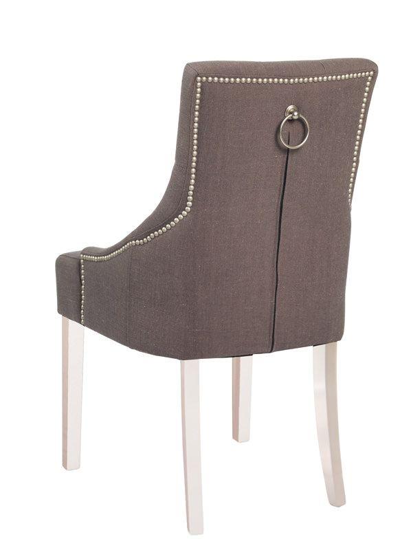 Stella Spisebordsstol - Grå stof og hvide ben - Dekorationssøm og beslag på ryg