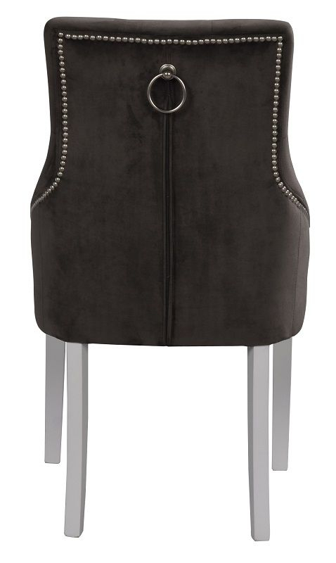 Stella Spisebordsstol - Grå - Spisebordsstol i grå velour