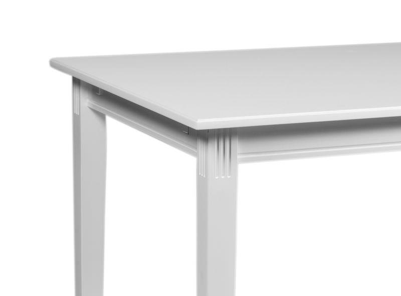 Hvidt spisebord med runde kanter   gratis fragt