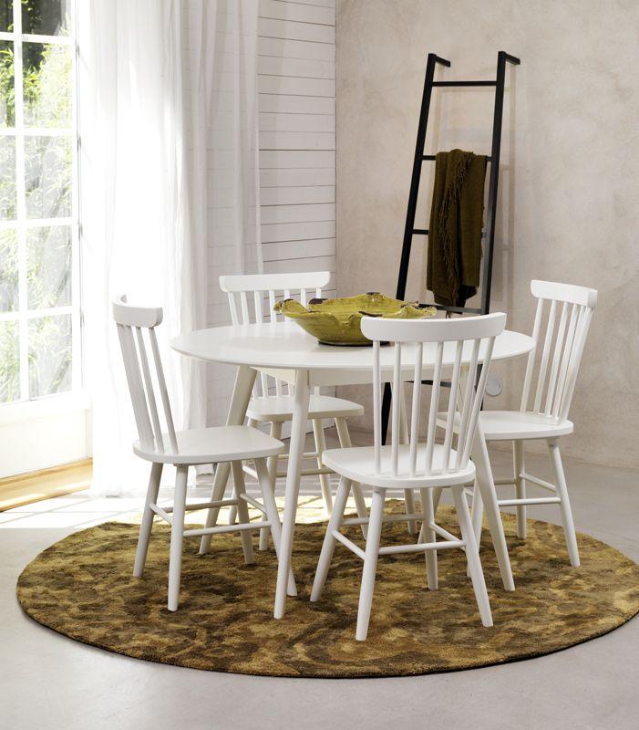 Bello Spisebord - Hvid - Ø115 - Hvidt rundt spisebord i træ