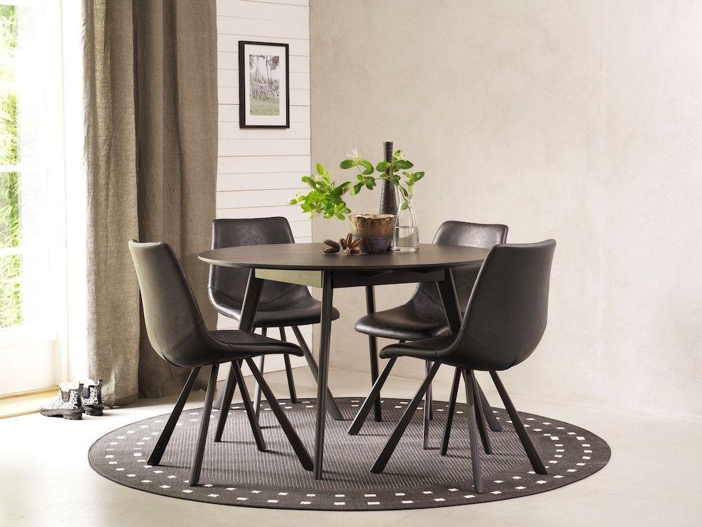Bello Spisebord - Sort - Ø115 - Rundt sortbejdset bord - 115 cm