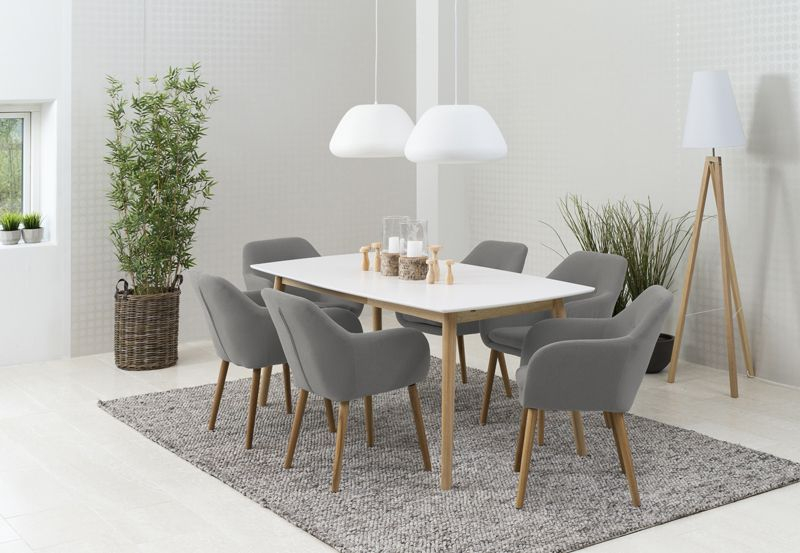 Selina Spisebordsstol - Lys grå - Lysegrå spisebordsstol m. egetræsben