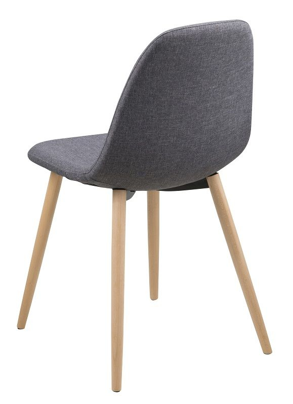 Selma Spisebordsstol - lysegrå med metal ben i egelook - Spisebordsstol med ben i metal