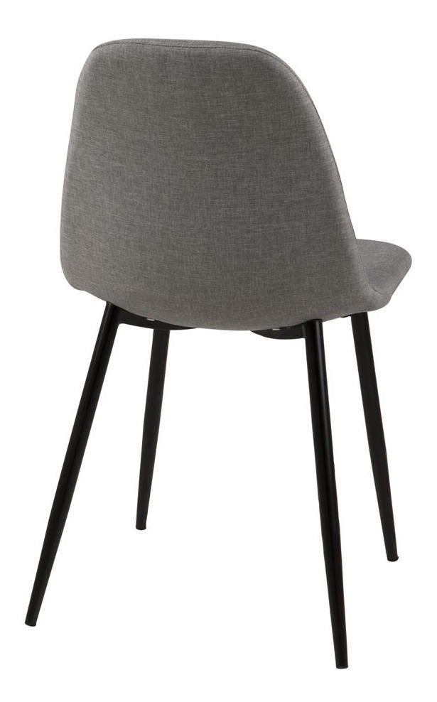 Selma Spisebordsstol - Lys grå - Sorte metal ben
