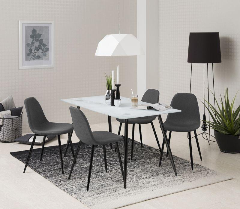 Selma Spisebordsstol - Mørkegrå med sorte ben - Spisebordsstol i grå