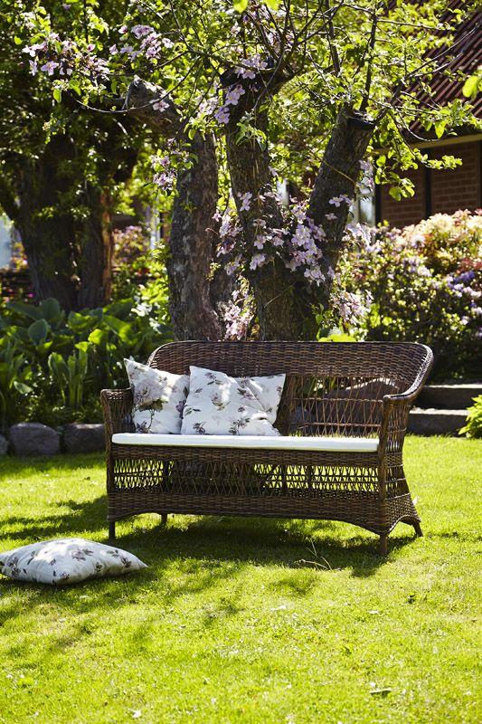 Sika-Design Charlot 2-pers Kurvesofa - Brun m/hynde - Georgia Garden